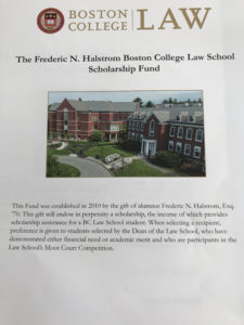 The Frederic N. Halstrom Boston College Law School Scholarship Fund
